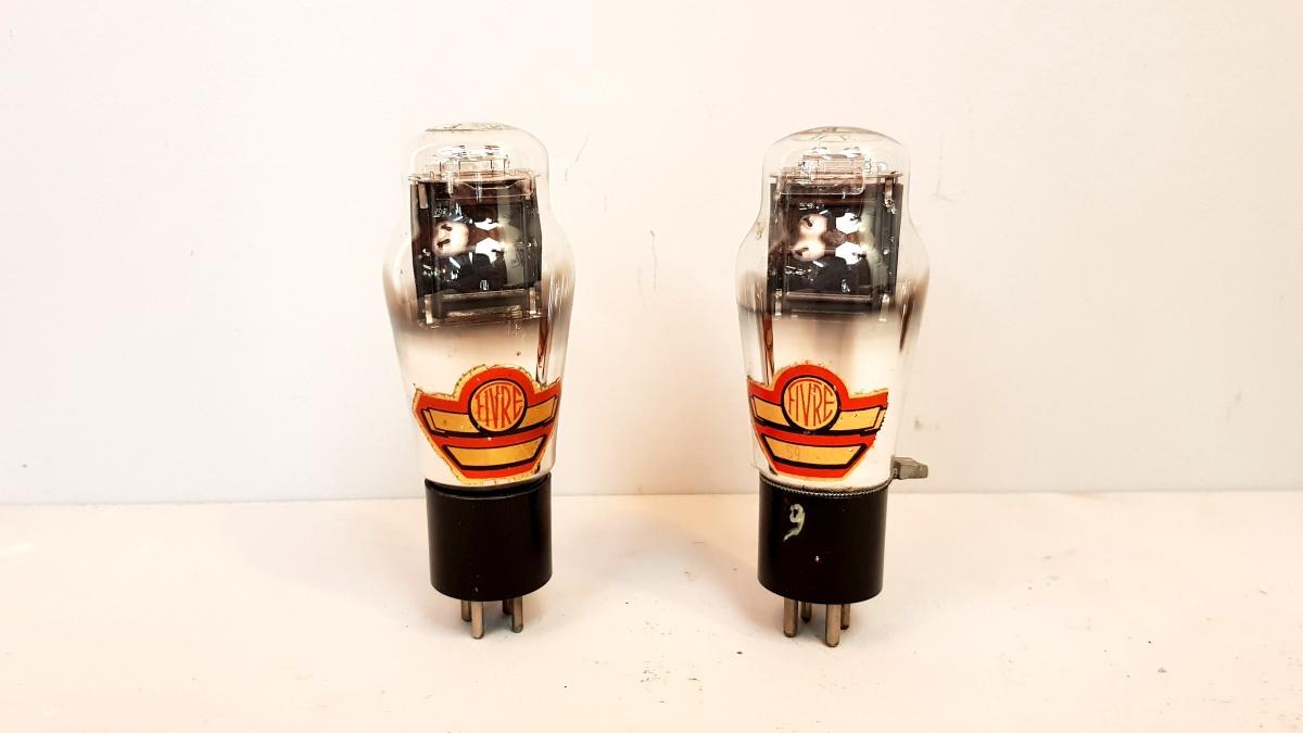 2 valvole tubes NOS pair  2A3 Fivre rosse monoplacca  014-015