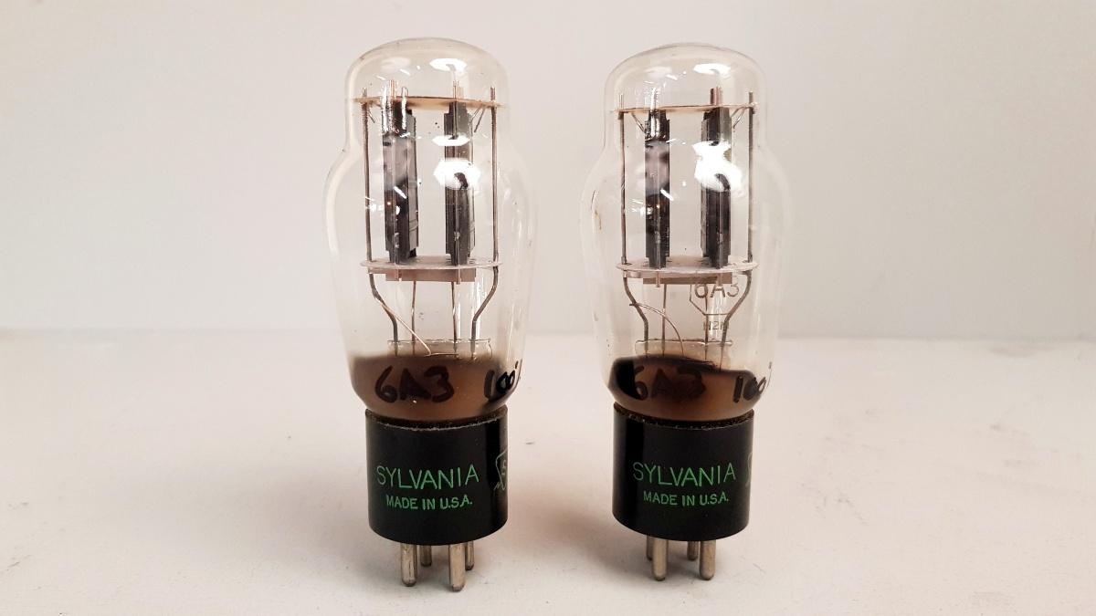 2valvole tubes nos pair SYLVANIA 6A3 Biplacca 049-050