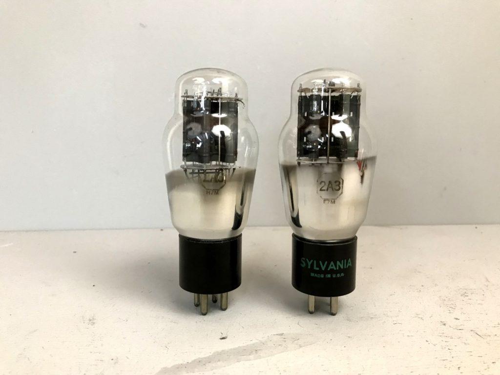 2 valvole tubes pair  2A3 SYLVANIA 045-046